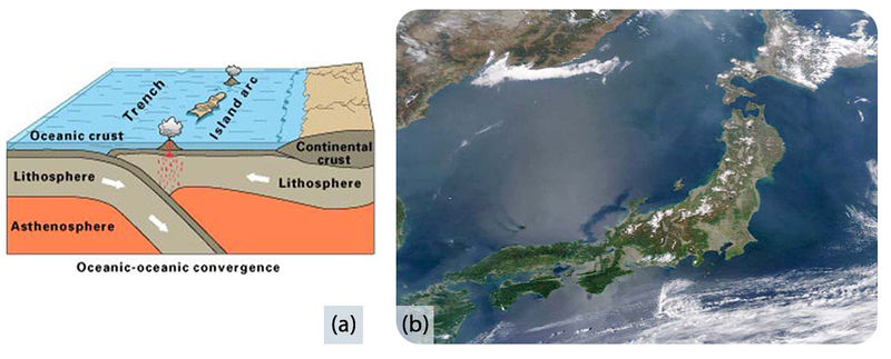A) Diagram of two ocean plates B) Satellite photo of Japan
