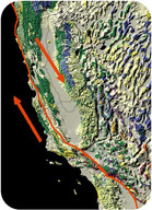 The San Andreas fault, showing the Pacific plate sliding northwest and the North American plate sliding southeast