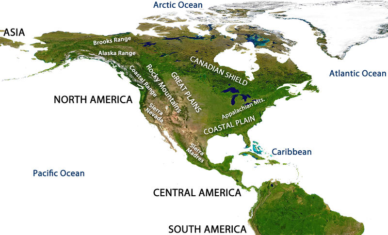 Major geographic features of the North American continent including the Sierra Madres, Sierra Nevada, Coastal Plain, Appalachian Mountains, Great Plains, Rocky Mountains, Coastal Range, Alaska Range, Brooks Range, and Canadian Shield.