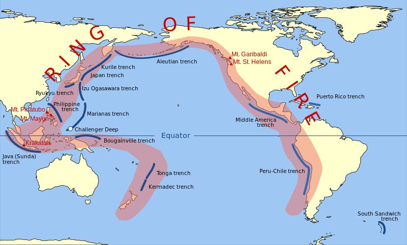 O anel de fogo circunda as costas da América do Sul, América do Norte, Rússia, Japão e Oceana. O Anel de Fogo inclui essas trincheiras: o trecho Peruo-Chile, a trincheira América Central, a trincheira Aleutiana, a trincheira Kurile, a trincheira japonesa, a vala Izu Ogasawara, a trincheira Ryukyu, a trincheira filipina, a trincheira Marianas (que inclui Challenger Deep), a vala de Java (Sunda), a vala de Bougainville, a vala de Tonga e a vala de Kermadec.