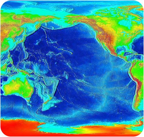 Imagem de relevo de cor do Oceano Pacífico. Este tipo de imagem mostra a elevação relativa das massas de terra (incluindo o fundo do oceano).