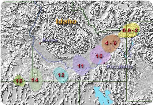 15 milhões de anos atrás, o hotspot estava ao longo da fronteira Nevada / Oregon. 14 milhões de anos atrás, foi na esquina de Orgeon, Nevada e Idaho. 12 milhões de anos atrás, foi quase completamente em Idaho, cruzando um pouco em Nevada. 11 milhões de anos atrás, estava totalmente em Idaho, e havia se movido para o leste acima de Utah, em vez de Nevada. 10 milhões de anos atrás, estava logo acima de pocatello, mais ao norte e ao leste a partir de sua posição anterior. 4 a 6 milhões de anos atrás, ele havia se mudado para o nordeste. De 0,6 a 2 milhões de anos atrás, ele havia viajado mais para o nordeste, cruzando o Wyoming, embora cerca de um terço do hotspot permaneça em Idaho.