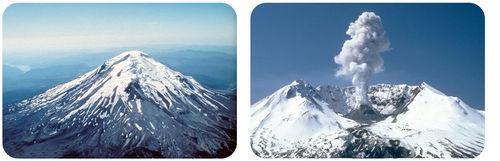 Mount St. Helens antes e depois da sua erupção de 1980.