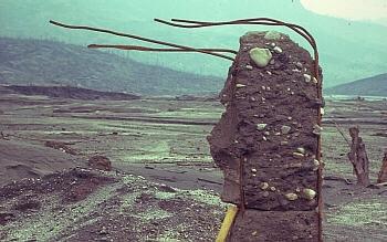 Vergalhão saindo de restos de concreto