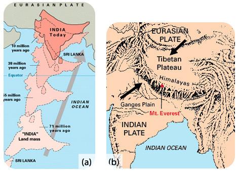 Como a placa indiana (com a massa terrestre indiana) se deslocou para o nordeste nos últimos 71 milhões de anos, eventualmente a massa terrestre indiana colidiu com a terra na placa eurasiana e essa colisão criou os himalaias.