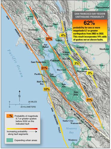 Probabilidade de 62 por cento para um ou mais de magnitude 6,7 ou maiores terremotos de 2003 a 2032. Este resultado incorpora 14% de chances de terremotos não em falhas mostradas