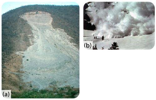 A) deslizamento de terra B) avalanche