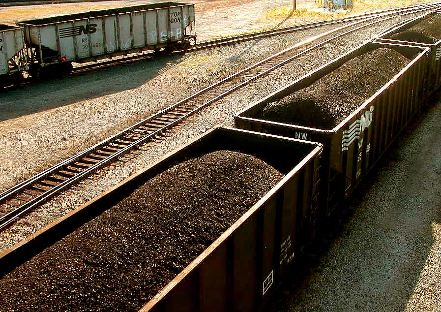 Train cars filled with coal