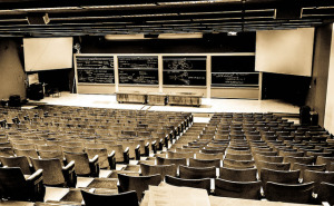 Empty college lecture room