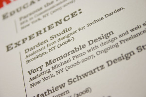 Close-up of an experience section of a resume