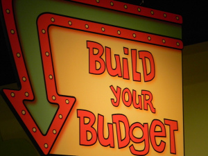 "Sign reading ""build your budget"""