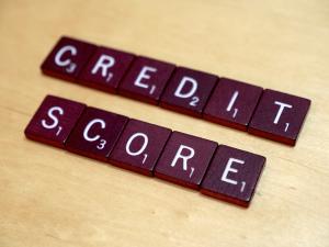 """Scrabble tiles reading """"credit score"""""""