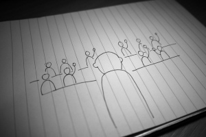 Line drawing of people raising hands in audience