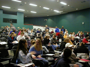 Lecture hall full of students talking