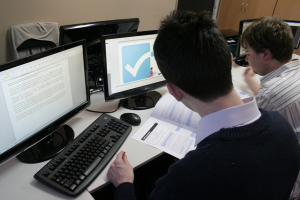 Two students working on online class
