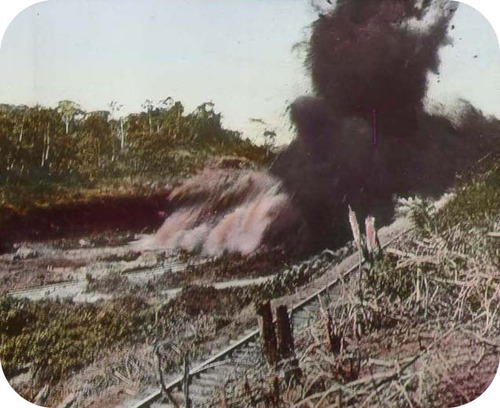 Explosion of dynamite