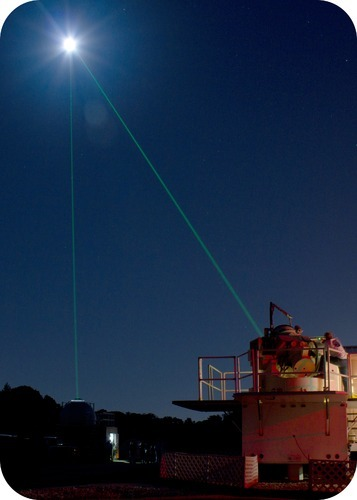 Laser measuring distance from Earth to the Moon