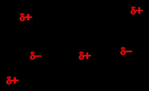 A hydrogen bond between two water molecules