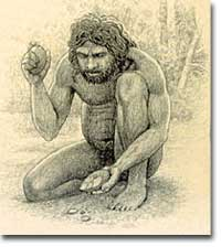 Neanderthal using tool