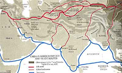 Chinese trade routes during the Tang dynasty