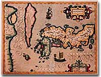 Map of Japan created by Dutch explorers, c. 1606