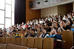 Students in lecture hall seats