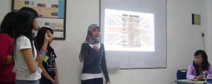 Student giving presentation in class