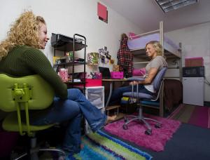 Two women in dorm room
