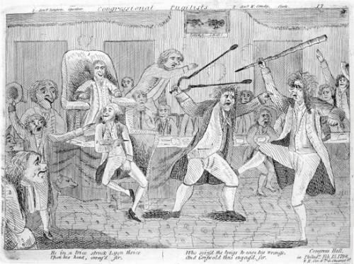 A political cartoon depicting rowdy Congressmen circa 18th century.