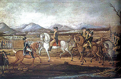 George Washington leads troops to put down the Whiskey Rebellion.