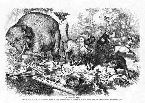 Thomas Nast drawing of elephant and donkey as Republican and Democrat mascots.