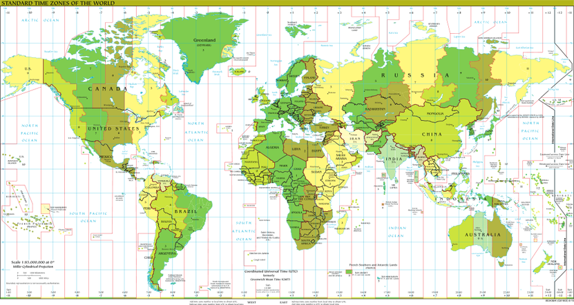Geographic grid system physical geography standard timezones of the world timezones are in general divided by longitudinal lines gumiabroncs Gallery