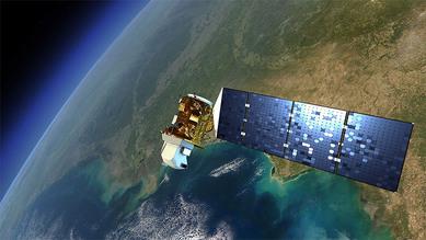 Artist's rendering of a satellite in Earth's orbit