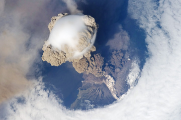 Volcanic eruption of Sarychev Peak as seen from the International Space Station.
