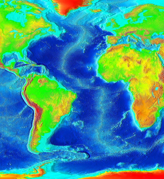 Sea floor spreading physical geography map of the atlantic ocean and surrounding contients that uses color to show ocean depth world gumiabroncs Image collections