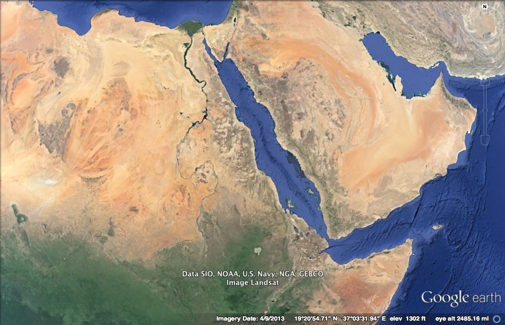 Satellite view of northeast Africa (Egypt, Sudan, and Eritrea) and Saudi Arabia. The Red Sea is an elongated body of water between the two continents