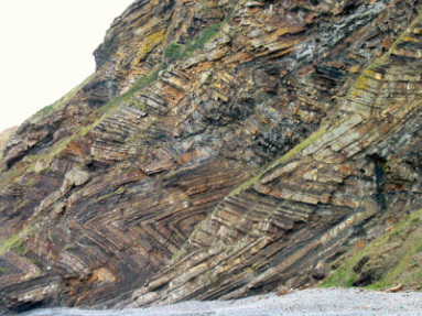 Contorted strata in a chevron pattern