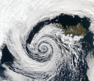 a large cyclone made up of clouds spiraling