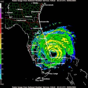 A radar image of a hurricane approaching Florida.