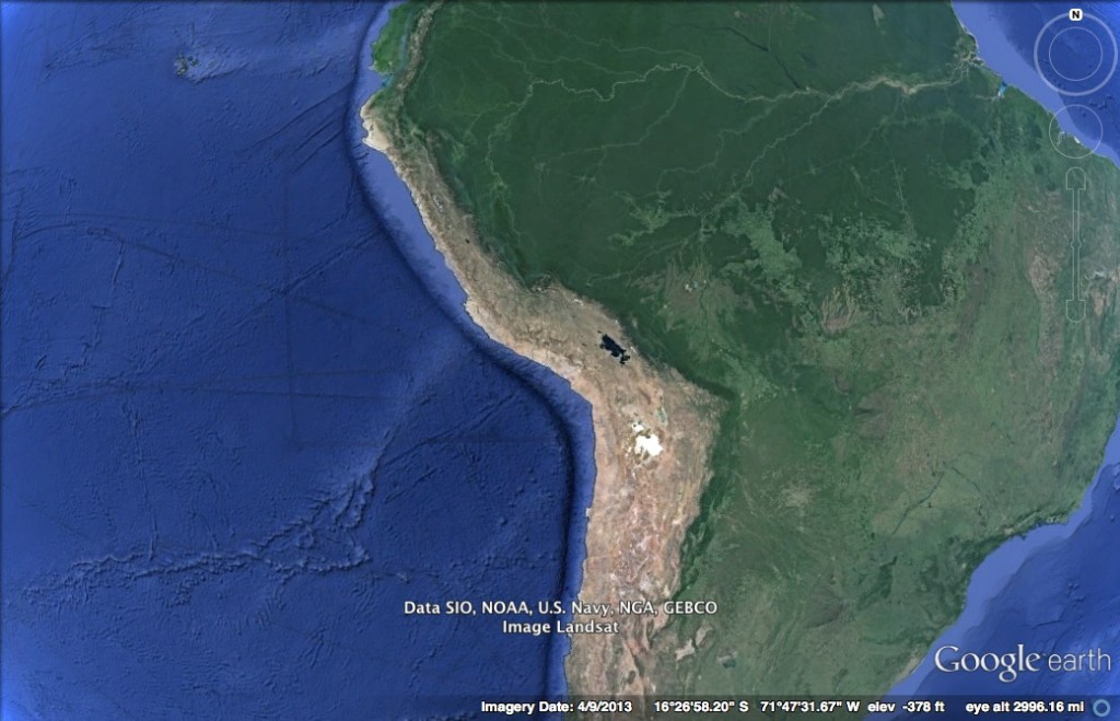 West coast of South America. The plate boundary is visible as a deep oceanic trench.