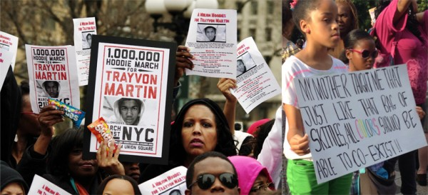 Two photographs depict people holding signs at a rally in protest of the death of Trayvon Martin.  An African American woman in the photograph on the left holds a sign with the text 'one million hoodie march for Trayvon Martin,' in one hand, and a bag of skittles in the other.  A young African American girl in the photograph on the right holds a sign with the text 'My mother taught me that just like that bag of skittles, all colors should be able to co-exist!!'