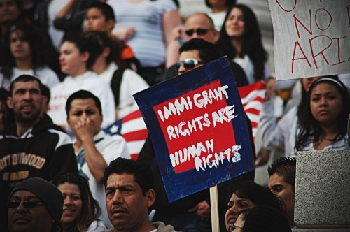 A group of protesters at an immigrant's rights rally.