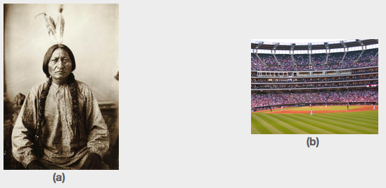 On the left is a portrait of a Native American chief. On the right is a baseball stadium.