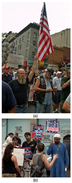 Two photos of protesters.