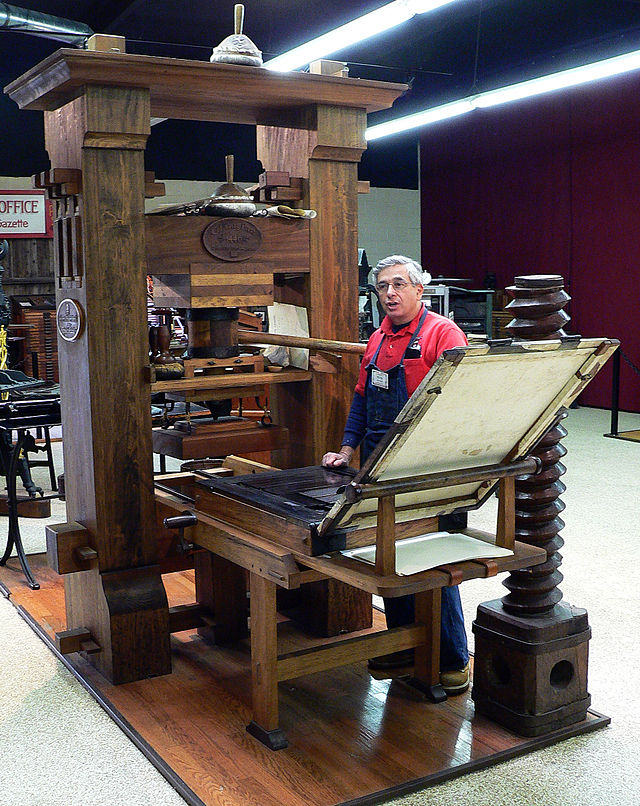 Figure 1. Recreated Gutenberg press at the International Printing Museum, Carson, California