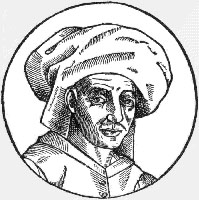 Figure 1. A 1611 woodcut of Josquin des Prez, copied from a now-lost oil painting done during his lifetime