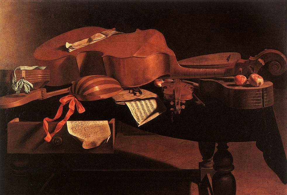 Figure 4. Baroque instruments including hurdy gurdy, harpsichord, bass viol, lute, violin, and guitar