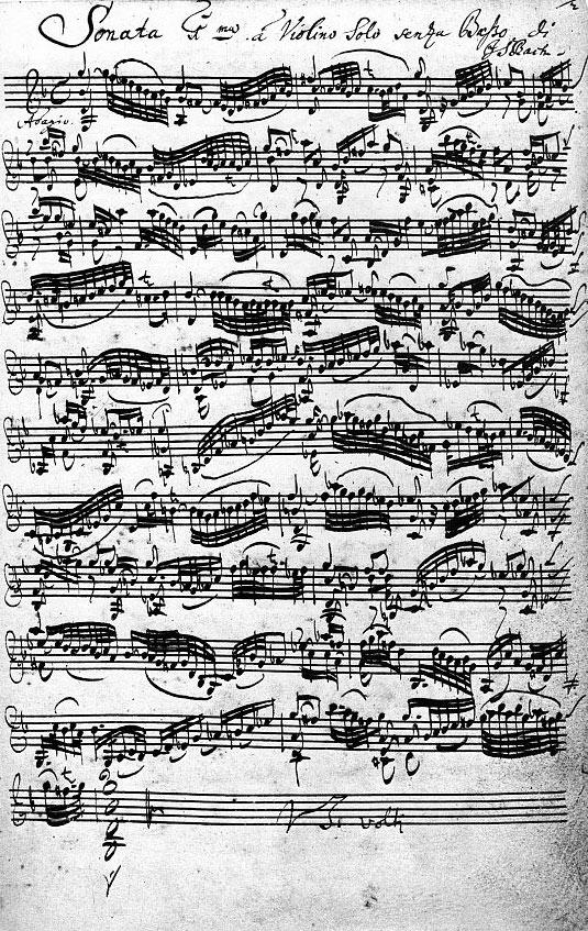 Figure 3. The autograph of Bach's Violin Sonata No. 1 in G minor (BWV 1001)
