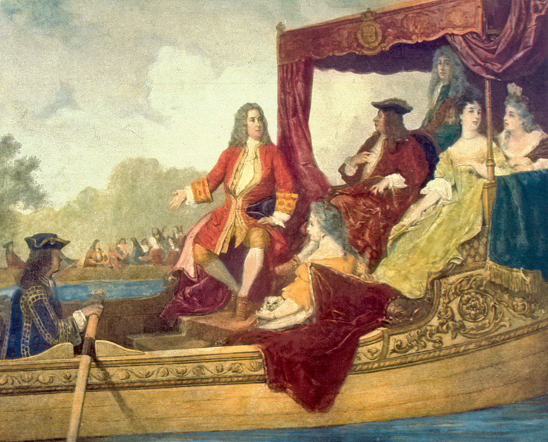 Figure 2. George Frideric Handel (left) and King George I on the River Thames, 17 July 1717, by Edouard Hamman (1819–88).