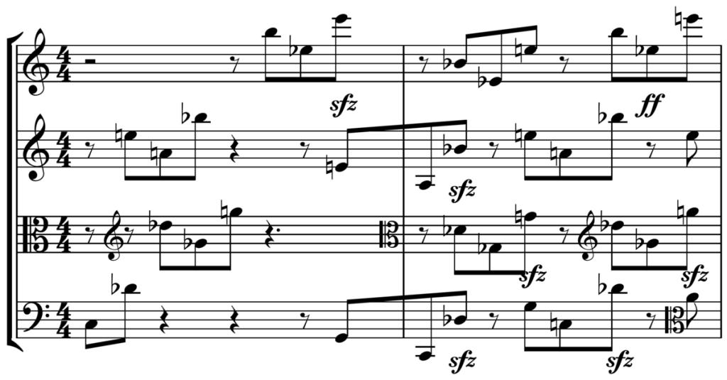 Figure 2. String quartet score (quartal harmony from Schoenberg's String Quartet No. 1).